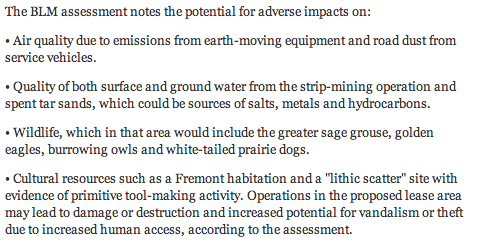 Adverse impacts from Bureau of Land Management re PR Springs oil sands mining