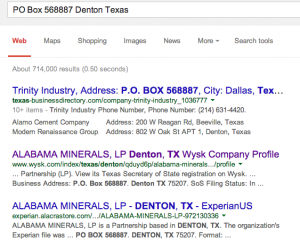 Google Search results for PO Box 568887 Denton Texas