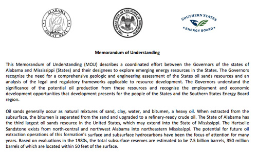Memorandum of Understanding Alabama Oil Sands July 2013